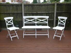 White Wood/Metal Folding Garden Chairs