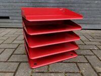 Vintage metal paper tray red