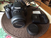 Canon EOS 650D camera with 18-55mm zoom lens, camera bag, memory card