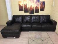 Beautiful Black/Grey Leather Corner Sofa