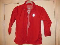BEAUTIFUL RED RAIN JACKET +hood & grippy sleeves AGE 4-5 Lovely Condition Perfect for spring REDUCED