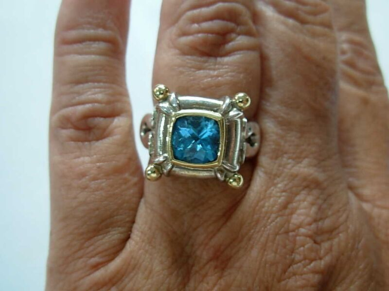 BASKIN BROTHERS SIGNED BB STERLING SILVER 18K YELLOW GOLD & BLUE TOPAZ RING