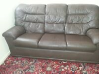 Leather 3 seat sofa plus matching chair
