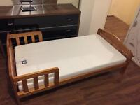 Mothercare toddler bed with waterproof mattress.