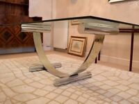 ITALIAN 1970's CHROME & BRASS DINING TABLE & EIGHT CHAIRS BY RENATO ZEVI