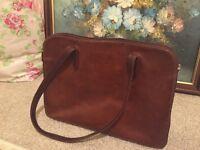 Large brown genuine leather bag