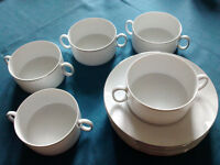 Thomas white/platinum china soup bowls and saucers, small bowls and lidded serving dish