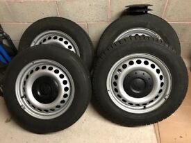 VW T5.1 16 inch Steel Rims and Tyres x4 for sale