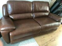NEW Three Seater Reclining Leather Sofa Brown colour