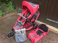 Phil & Ted two seater pushchair, carry cot and rain cover