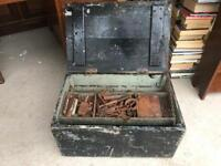 Large Old Tool Box Full Of Tools Scribing Etc