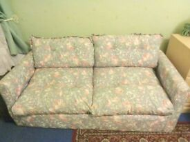 COTTAGE STYLE DOUBLE SOFA BED BLUE & PINK FLORAL GOOD CLEAN CONDITION