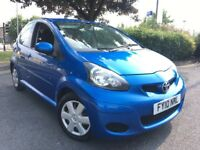 2010 10 TOYOTA AYGO BLUE 1.0 VVTI PETROL 5 DOOR HATCHBACK / £20 A YEAR ROAD TAX