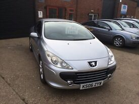 2006 peugeot 307cc convertible, silver, 82k with fsh, full mot, runs and drives great.