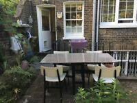 RETRO VINTAGE MID_CENTURY FOLDING FORMICA DINING TABLE AND 4 x CHAIRS