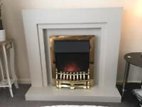 Wooden Fireplace and Electric Flame Effect Fire (Fan Heater)