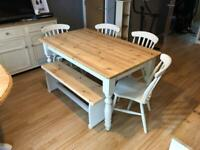 Farmhouse table chairs and w