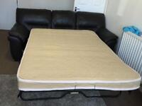 3 THREE SEATER LEATHER BROWN SOFA BED SUITE - STRONG & HEAVY - GREAT CONDITION