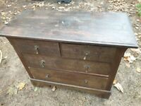 VINTAGE SOLID (OAK?) CHEST OF FOUR DRAWERS - FREE DELIVERY IN NW BRISTOL