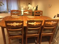 Swedish Solid Pine Extendable Table and 6 Chairs. Beautiful condition. First to see will buy