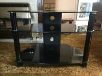Black glass TV stand with 2 shelves FREE - good condition