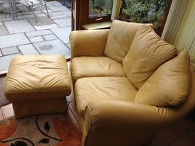 SOFA - LEATHER 2 SEAT WITH STORAGE FOOT STOOL