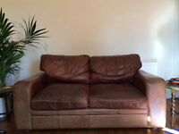 *Reduced Price* *Must Go* 2 Seater Brown Leather Sofa
