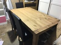 Chunky solid wood farmhouse table and 6 chairs