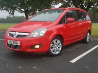 2012 VAUXHALL ZAFIRA DESIGN. GLEAMING RED.. IMMACULATE 7 SEATER
