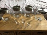 Five glass sweet jars and 3 plastic scoops for wedding sweet stall