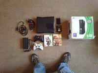 Xbox 360 Slim 500GB, 2 controllers, 2 Games and all cables etc.