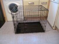black 2 door dog crate