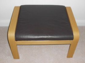 IKEA POANG OAK FRAME BROWN LEATHER FOOTSTOOL. IMMACULATE CONDITION. LESS THAN HALF PRICE!