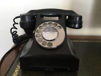 Beautiful Black Bakelite Telephone Rewired For Modern Sockets