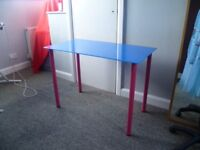 Ikea blue glass desk with pink legs