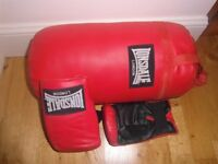Red Lonsdale 18inch mini punch bag with red mitts. Barely used still boxed