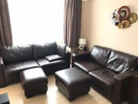 Brown leather 2 seater sofa and 3 seater sofa bed plus accessories
