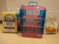 Lazy Bones Hamster Cage secondhand, small hairline crack in satellite bed but still usable.