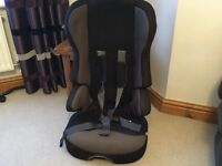 Mothercare black car seat / booster seat with seat belts restraints