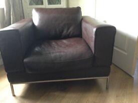 Large modern brown armchair