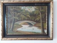 Oil painting in ornate frame signed H Bornö of a danish woodland