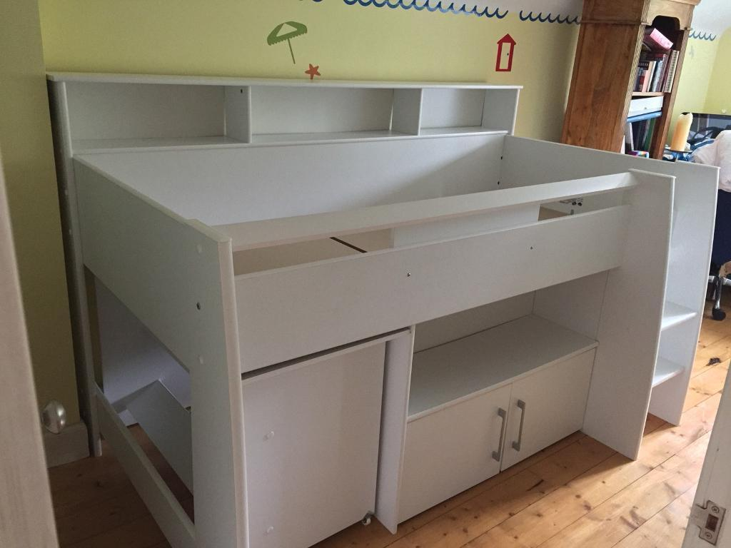 Kids Bed Mid Sleeper Great Little Trading Company Built In Storage Shelves Cupboard And Desk