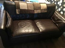 Dark brown real leather sofas