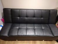 Black Leather Sofa Bed in excellent condition