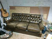 Chesterfield 3 seater couch, in need of some tlc