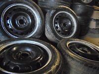 "14"" 4x100 steel wheels tyres vw vauxhall corsa polo seat ibiza skoda fabia honda nissan px alloys"