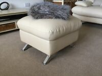 Two Leather sofas, a leather chair and leather footstool