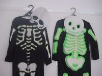 2 X Skeleton Halloween Costumes, ages 3-5 and ages 5-7 years