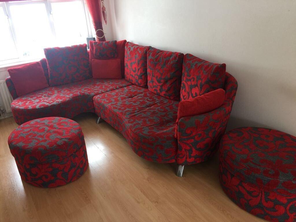 Dfs Red And Black Fabric Sofa Set Corner Foot Stools Recliner