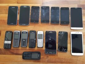 Lot of 15 mobile phones. Iphones, Samsung and classic Nokias